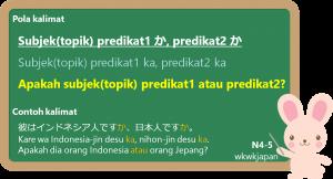 Kalimat tanya; Subjek(topik) predikat1 ka, predikat2 ka