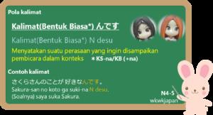 Kalimat (Bentuk Biasa) + N' desu