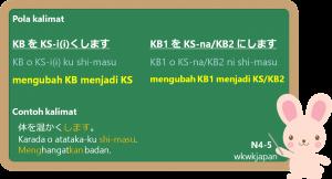 KS-i (ku) / KS-na/KB (ni) + shi-masu