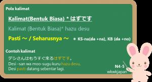 KK/KS/KB hazu desu 「はずです」