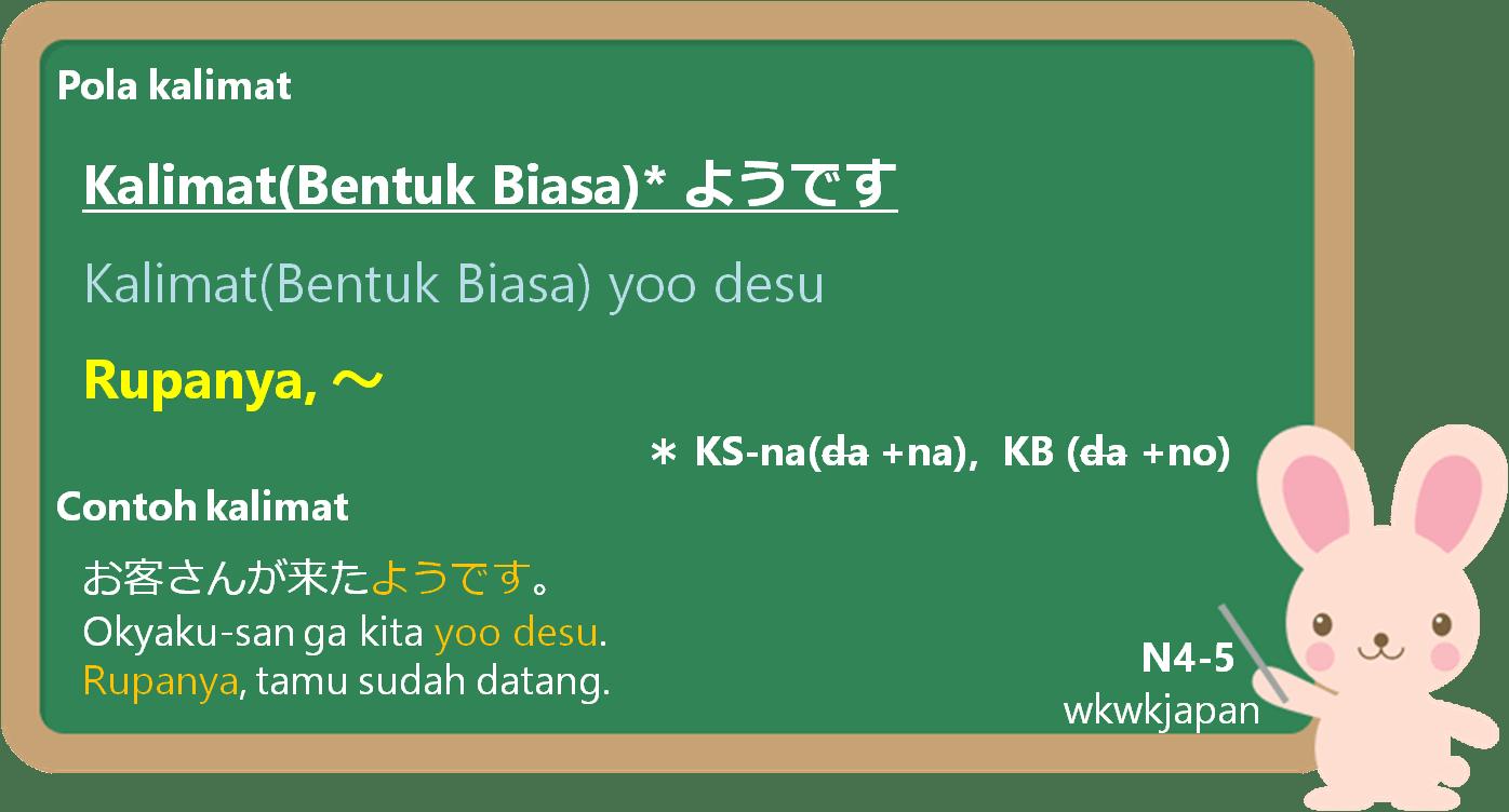 Kalimat(Bentuk Biasa) + yoo desu / mitai-desu