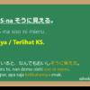 そうに見える (soo ni mieru) dalam Bahasa Jepang